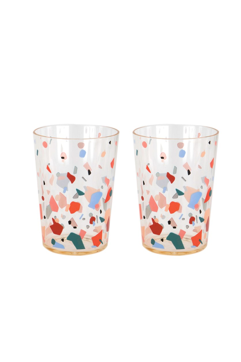 2 Pcs Party On Cocktail Tumblers, Transparent/Pink Combo