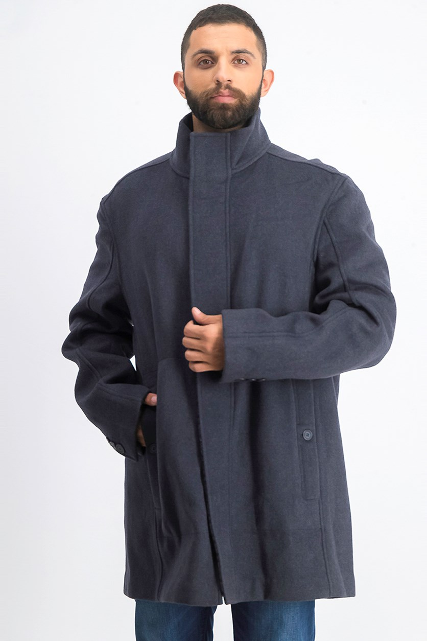 Men's Double Face Wool Blend Car Coat, Grey