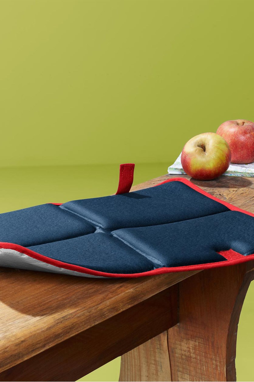 Foldable Thermal Seat Cushion, Navy/Silver/Red