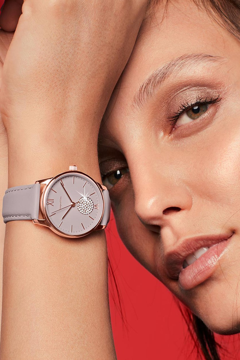 Ladies Watch With Leather Strap, Rose Gold/Taupe