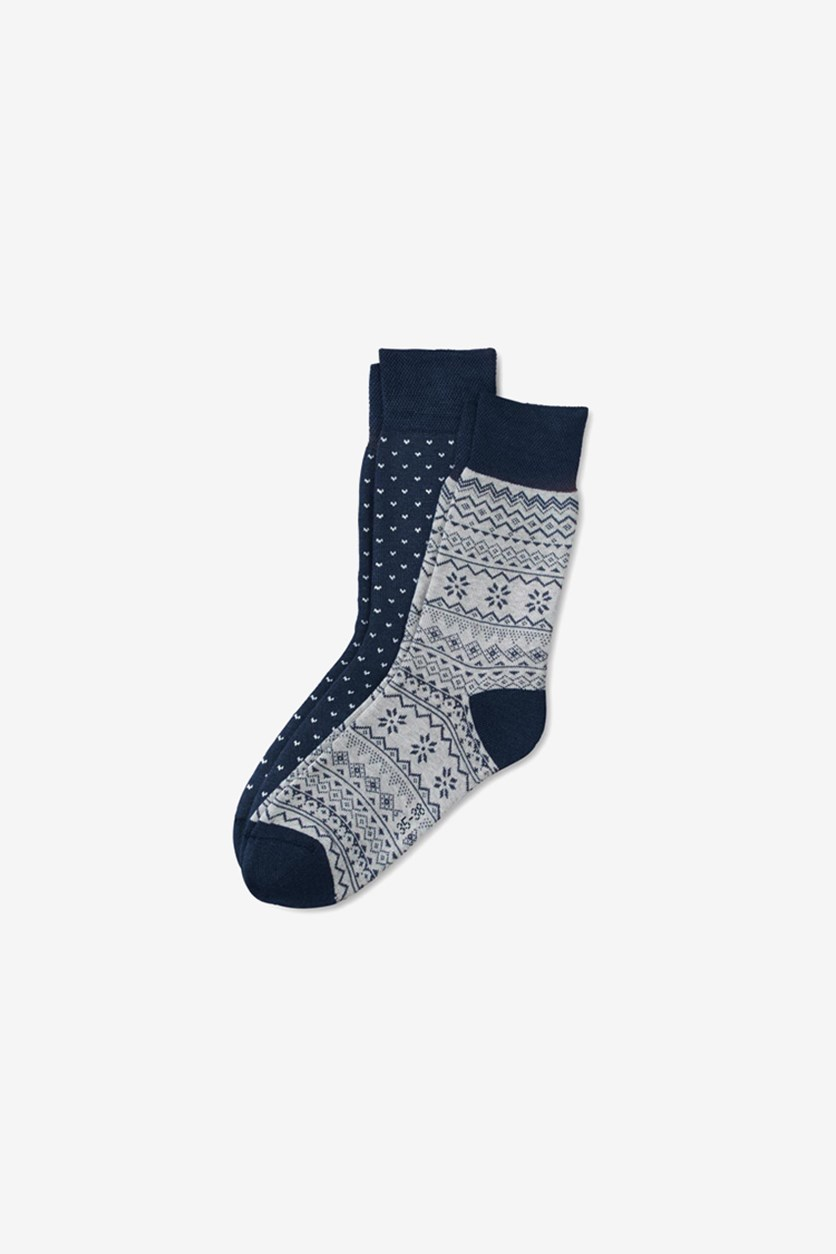 Women's 2 Pairs Thermal Socks, Navy/Grey