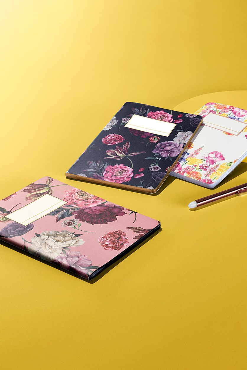 3 Pieces Notebook, White/Pink