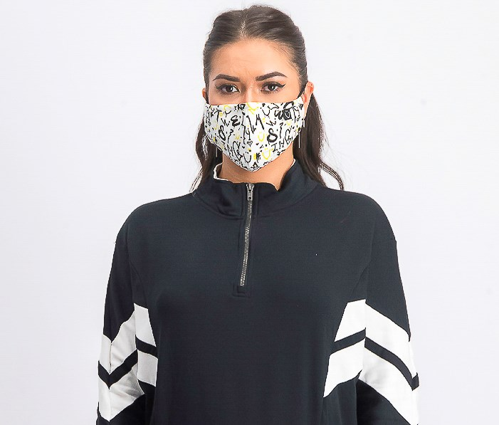 Unisex Graphic Printed Reusable Face Mask, White Combo