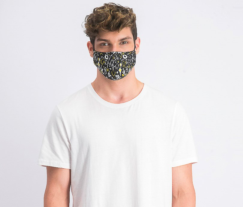 Unisex Graphic Printed Reusable Face Mask, Black Combo