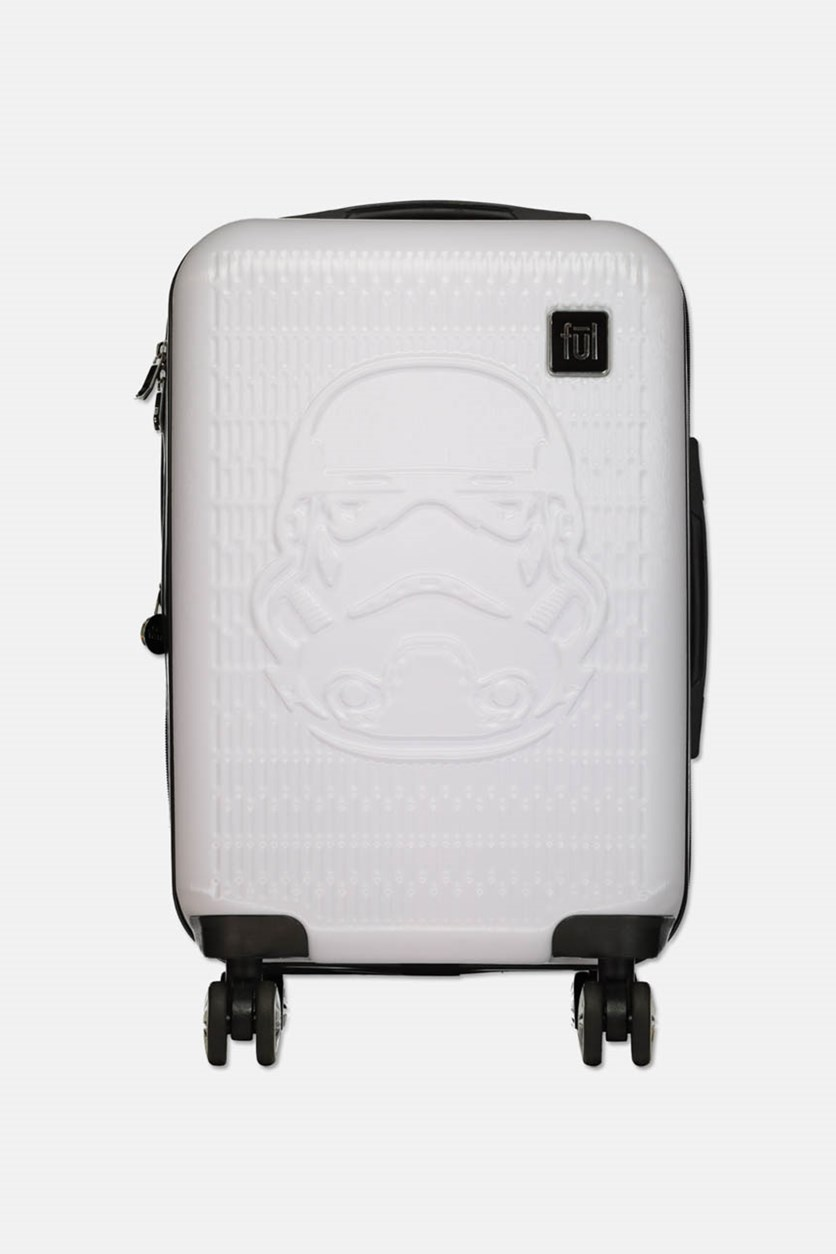 Storm Trooper 22 Inches White Embossed Spinner Suitcase, Silver