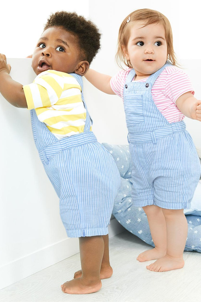 Baby Girls Dungarees Overall, Blue/White