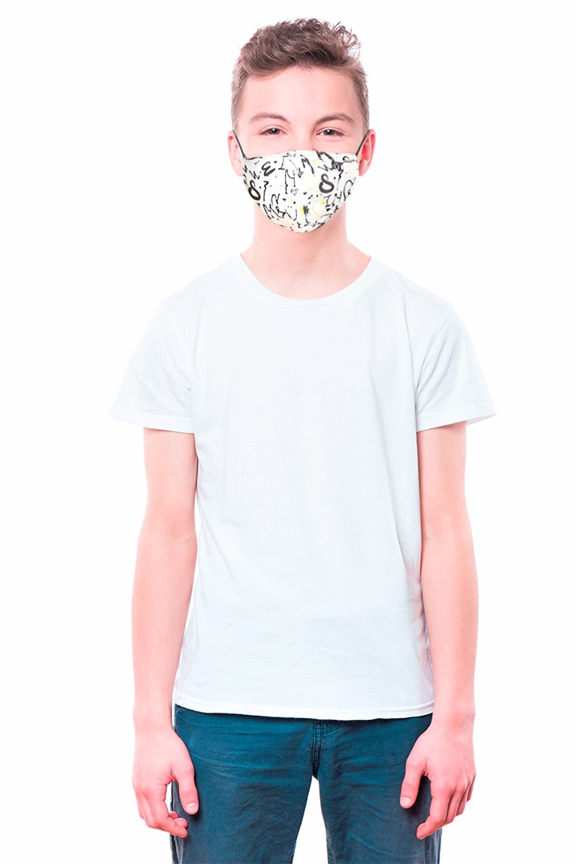 Unisex Kid's Graphic Printed Reusable Face Mask, White Combo