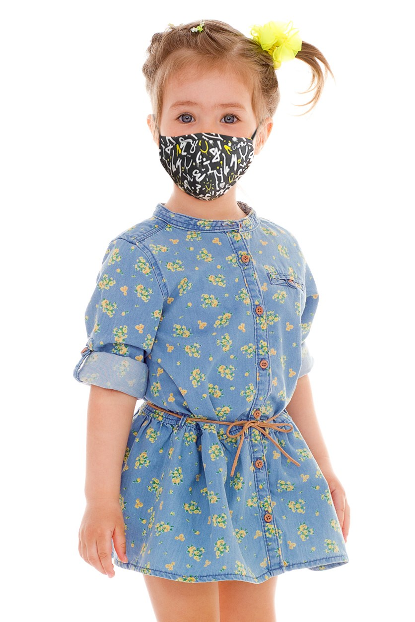 Unisex Kid's Graphic Printed Reusable Face Mask, Black Combo