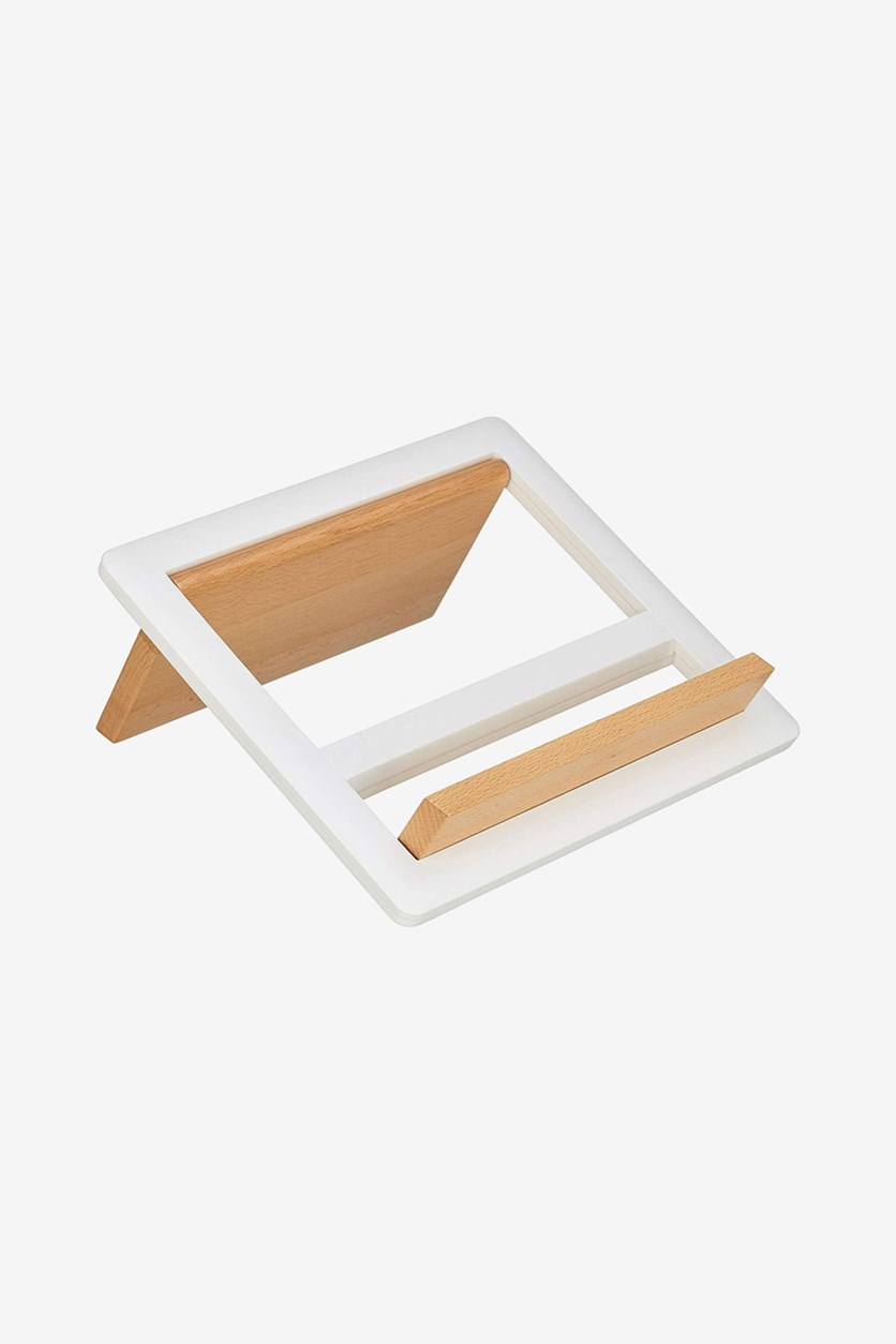 Foldable Wooden Cookbook Stand Recipe Book Holder, Brown/White