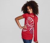 Girls Long Shirt with Scarf, Red-Silver
