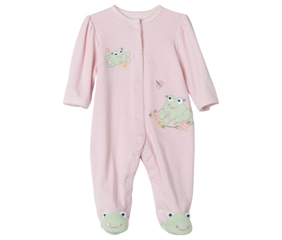 Baby Girls Frog Friends footie, Pink
