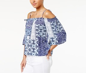 Bcx Juniors' Printed Off-The-Shoulder Top, Navy