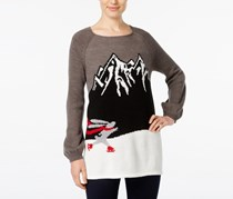 Style Co Skating Bunny-Pattern Sweater, Grey Combo