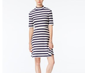 Maison Jules Striped Fit & Flare Dress, Blue Notte Combo