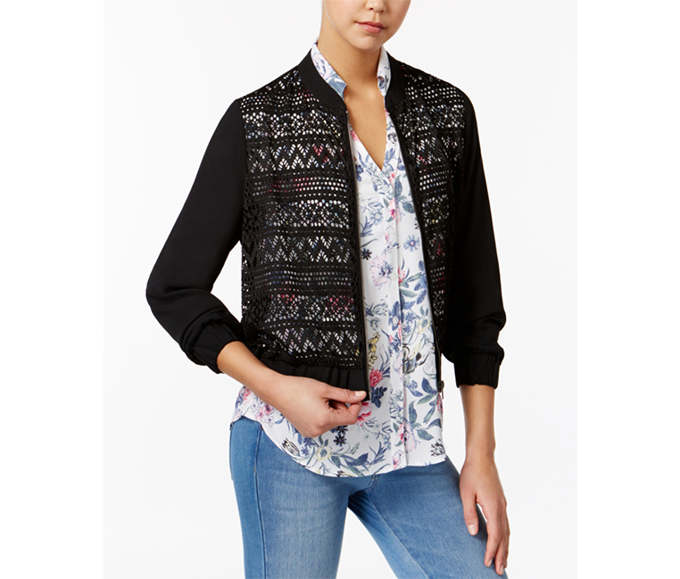 BCX Juniors Lace-Front Bomber Jacket, Black