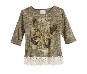 Beautees Lace-Detail Graphic-Print Top, Gold