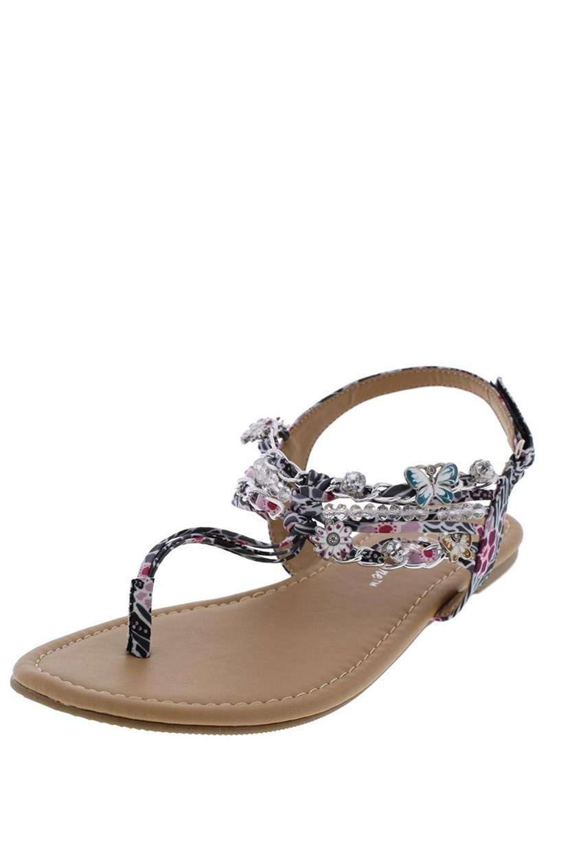 Sarah-Jayne 4377 Girls Shore Gray T-Strap Sandals, Black/Plum