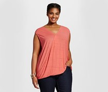 Ava And Viv Plus Size Women's Wrap Front Knit Sleeveless Top, Red Space