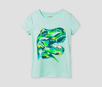 Cat & Jack Girls' Dinosaur Short Sleeve Graphic Tee, Aqua