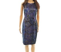 Adrianna Papell Printed Sheath Dress,Multi Color