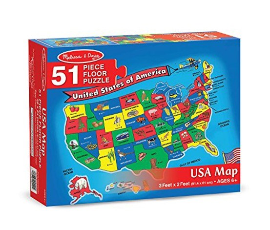 Melissa & Doug 51 Pieces USA Map Floor Puzzle