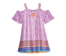 Sequin Hearts Printed Off-The-Shoulder Dress, Purple/Orange/Blue Combo