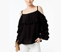 INC International Concepts Cold-Shoulder Top, Deep Black