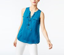 INC International Concepts Lace-Up Top, True Teal