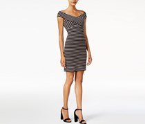Bar III Striped Off-The-Shoulder Bodycon, Black Combo
