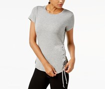 INC Lace-Up T-Shirt, Medium Heaher Grey