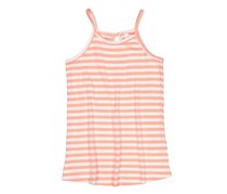 Lefties Kids Girls Sleeveless Stripe Tee, White/Orange