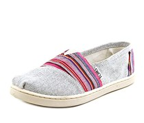 Toms Youth Classics Slip-On, Light Grey Chambray/Pink
