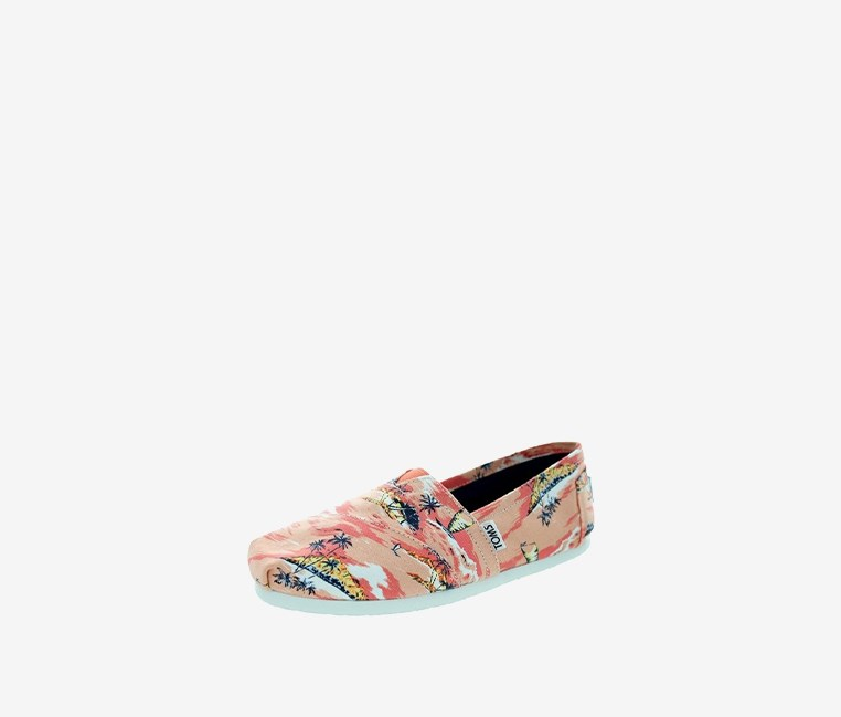 Classic Canvas Printed Palms Shoe,Coral
