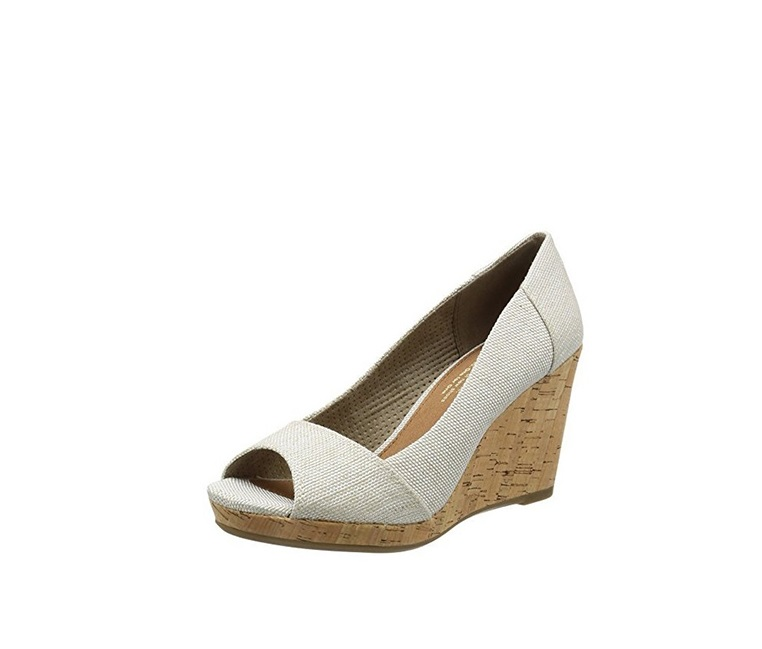 60ac6c5e752 Shop Toms Toms Womens Stella Peep-Toe Wedges, Natural Yarn-dye for ...