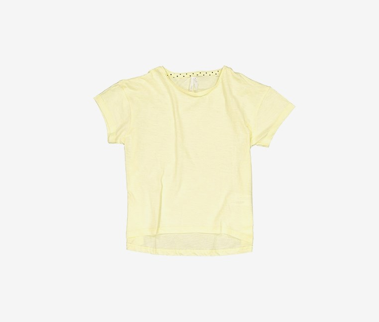 Kids Girl's Polka Dots Neckline Tee, Yellow