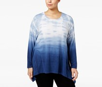 Style & Co Plus Size Tie-Dyed Ombre Top, Industrial Blue