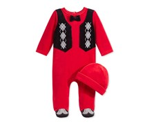 First Impressions Baby Boys 2-Pc. Hat Footed, Tango Red