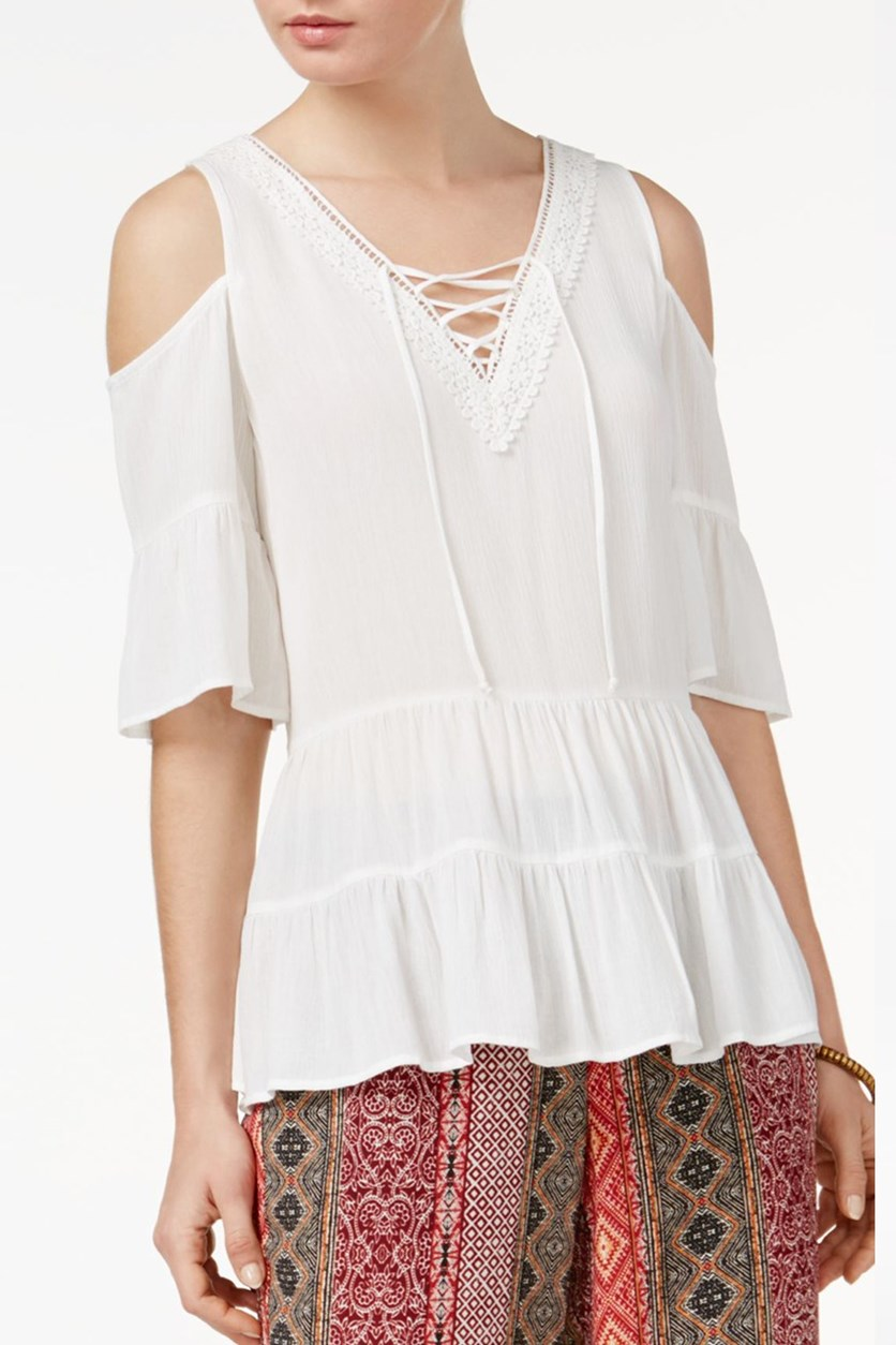 Juniors Cold-Shoulder Top, Off White
