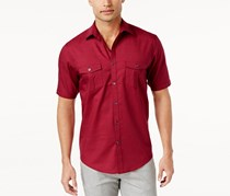 Alfani Black Warren Solid Textured Shirt, Tango Red