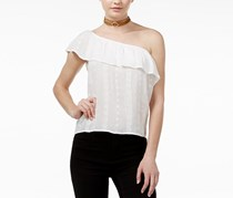 Bcx Juniors' One-Shoulder Ruffle Blouse, White