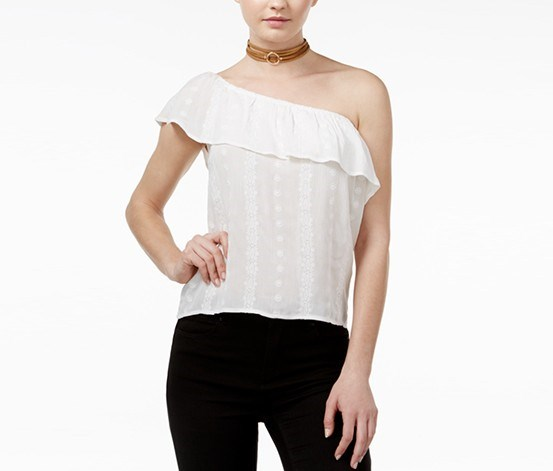 Juniors' One-Shoulder Ruffle Blouse, White