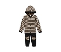 First Impressions Baby Boys 2-Pc. Stripe Hoodie, Deep Black