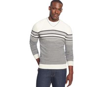 Alfani Striped V-Neck Sweater, Antique White Combo