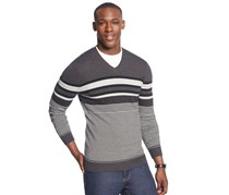 Alfani Striped V-Neck Sweater, Black/Grey