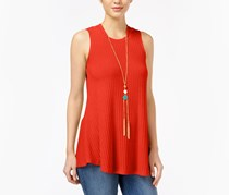 Bcx Juniors' Sleeveless Knit Necklace Top, Burnt Orange