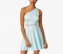 Juniors' One-Shoulder Metallic Fit & Flare Dress, Aqua
