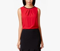 Nine West Women's Solid Pleat-Neck Top, Fire Red