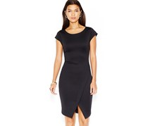 Bar III Ribbed Envelope Dress, Deep Black