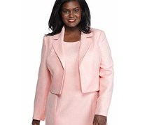 Kasper Tweed Cropped Notch Lapel Jacket, Tutu Pink