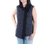 Womens Collection Tweed Vest, Navy/Black